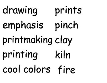 Art Vocabulary for Word Wall
