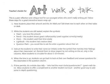 Art Walk and Talk Reflection sheet
