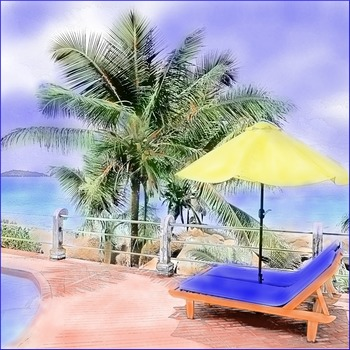 "Art: Watercolor Tinting ""Poolside"" (Printable #6 w/ PowerPoint Tutorial)"