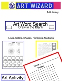 Art Word Search Fill in Blank - Lines, Shapes, Colors, Principles, Mediums