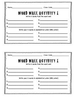 Art Word Wall Activities