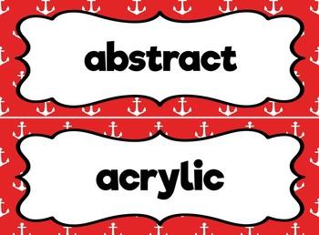 Art Word Wall (Nautical Theme)  -  Editable!