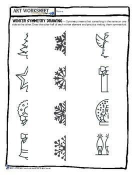 Art Worksheet - Drawing Symmetry! Symmetrical Christmas/Holiday/Winter Draw