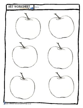 Art Worksheet: Drawing Texture with Apples - Early Finisher, Sub Plan, Lesson +