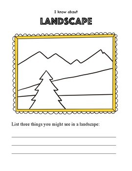 Art Worksheet. Teaching Subject Matter in Art. Still life, landscape & portrait