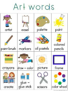 Art Writing Center Tools: School Words