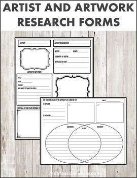Art and Artwork Research Worksheets