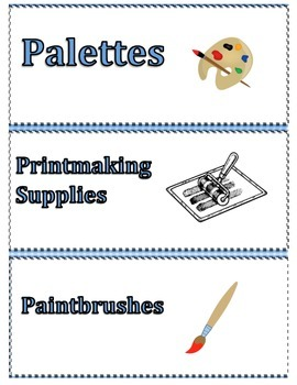Art and General Education Classroom Labels for Cabinets, Organizing, Supplies