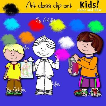 Art class clip art -KIDS -Color and B&W.