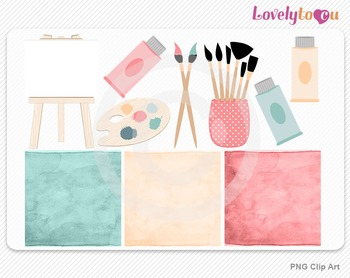 Art clipart set with easel, PNG clip art (032)