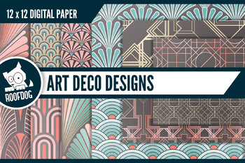Art deco themed patterns in coral, blue and chocolate