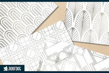 Art deco themed patterns—silver foil on white