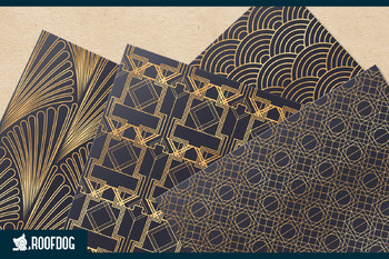 Art deco themed patterns with gold foil look