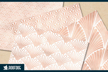 Art deco themed patterns with rose gold detail