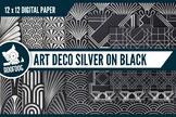 Art deco themed patterns—silver foil on black