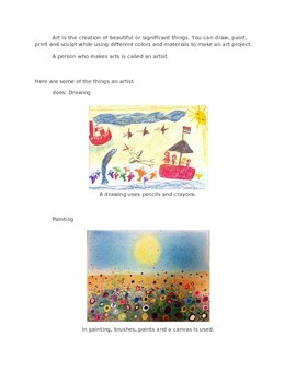 Art definition and Art Materials for 2nd Grade