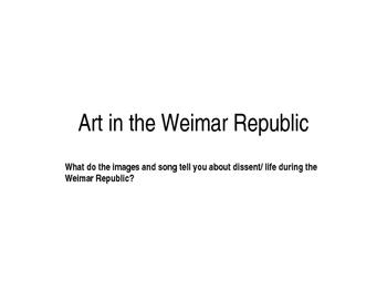Art in the Weimar Republic