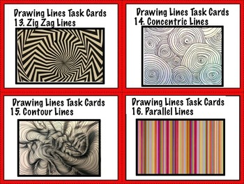 Art Elements -  Lines Task Cards & Matching Game (10 pages) Artist Artwork