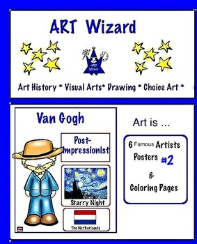 Art Posters ... 6 Famous Artists Posters & Coloring Pages  Set #2 Art Artists