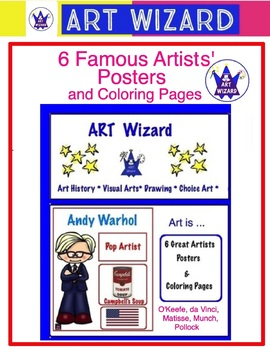 Art Posters ... 6 Famous Artists Posters & Coloring Pages  Set #1  Art Artists