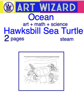 Coloring Hawksbill Sea Turtle (2 pages), Art, Math