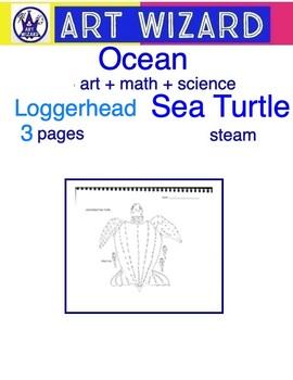 Coloring Loggerhead Sea Turtle (3 pages), Art, Math