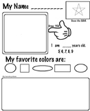 Back to School Art - Student Art Inventory (k3, ELL) 5 Pages, Art Lesson