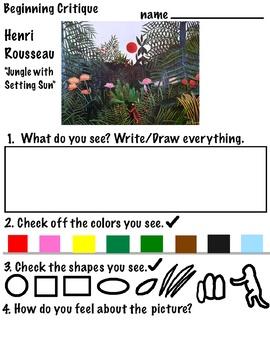 ART Critique is ...(Intro K-2, ELL)  with Van Gogh, Cassatt, Rousseau (6 pgs)