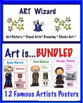Art Posters ...  Bundled  12 Famous Artists Posters (Set 1 + Set 2)