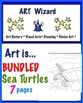Art Science ... Bundled Sea Turtles (7 printable pages)