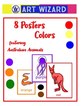 Art Elements -  Learn Colors Australian Animals (18 pages) Posters, Coloring