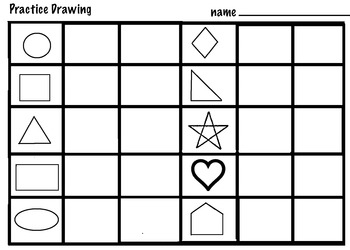 Art Elements -  Color & Draw 2D Shapes (3 pages) K-2, ELL/ESL
