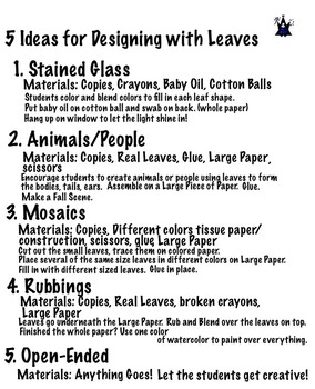 Art ... Free! Designing with Leaves (4 pages)  5 Art Activities - Fall, Spring