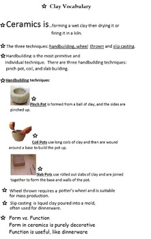 Art is ...Clay/Model Magic Art Center (Sign, Vocabulary & Procedure) 3 Pages