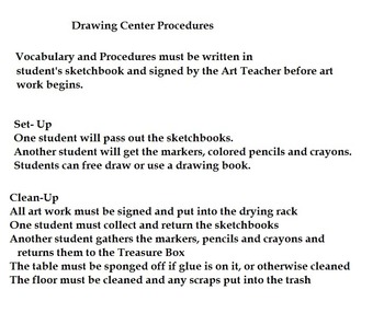 Drawing Art Center (Sign, Vocabulary & Procedure) 4 Pages