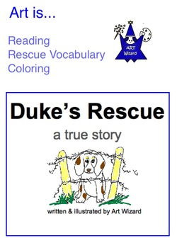 Art ... 2 True Rescue Dog Stories -Make Booklet, Read & Color (16 pg)