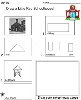 "Art ... FREE! Draw a ""Little Red Schoolhouse""  1 page"