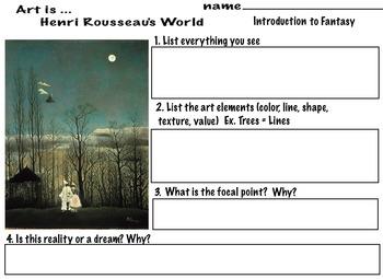 Henri Rousseau Fantasy World  (7 pages) A Carnival Evening, Art Lesson