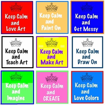 "Art ... FREE! Keep Calm, Teach Art ""Crown"" Cards - 1 Print"