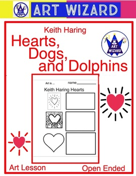 Keith Haring Hearts, Dogs & Dolphins (4 pages) Cartoon Drawing - Art Artist