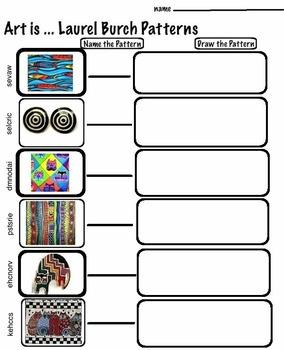 Art Patterns ... Laurel Burch  (2 Printable Worksheets) Art Artist