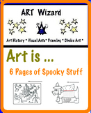 Halloween Creative Activities for Art Coloring, Drawing (6 pages)