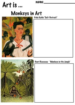 Art Science ... Monkeys in Art Work (4 pages) Kahlo, Rousseau, Warhol, more