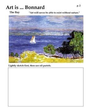Pierre Bonnard (3 Printable Pages & 1 Oil Pastel Techniques) Art Artist
