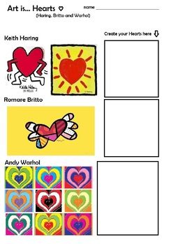 Art is ... Pop Hearts (Haring, Britto, Warhol) Open Ended