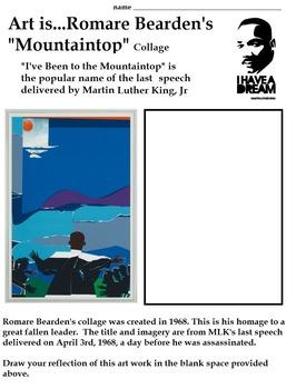 Romare Bearden's Mountaintop Collage (Martin Luther King, Jr) Art Artist