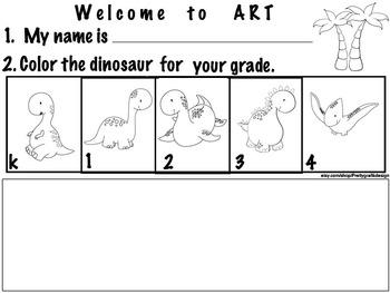 Art ... Welcome to Art (k4) 3 Dinosaur printables