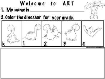 Art ... Free! Welcome to Art (k4) 3 Dinosaur printables
