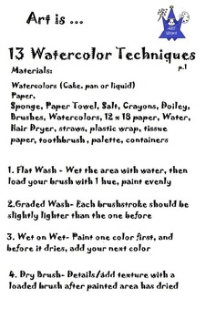 Techniques for Watercolor  (3 Printable Pages) Art Lesson