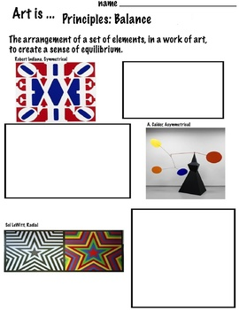 Art Principles (9 Open Ended Printables of Contemporary Art)